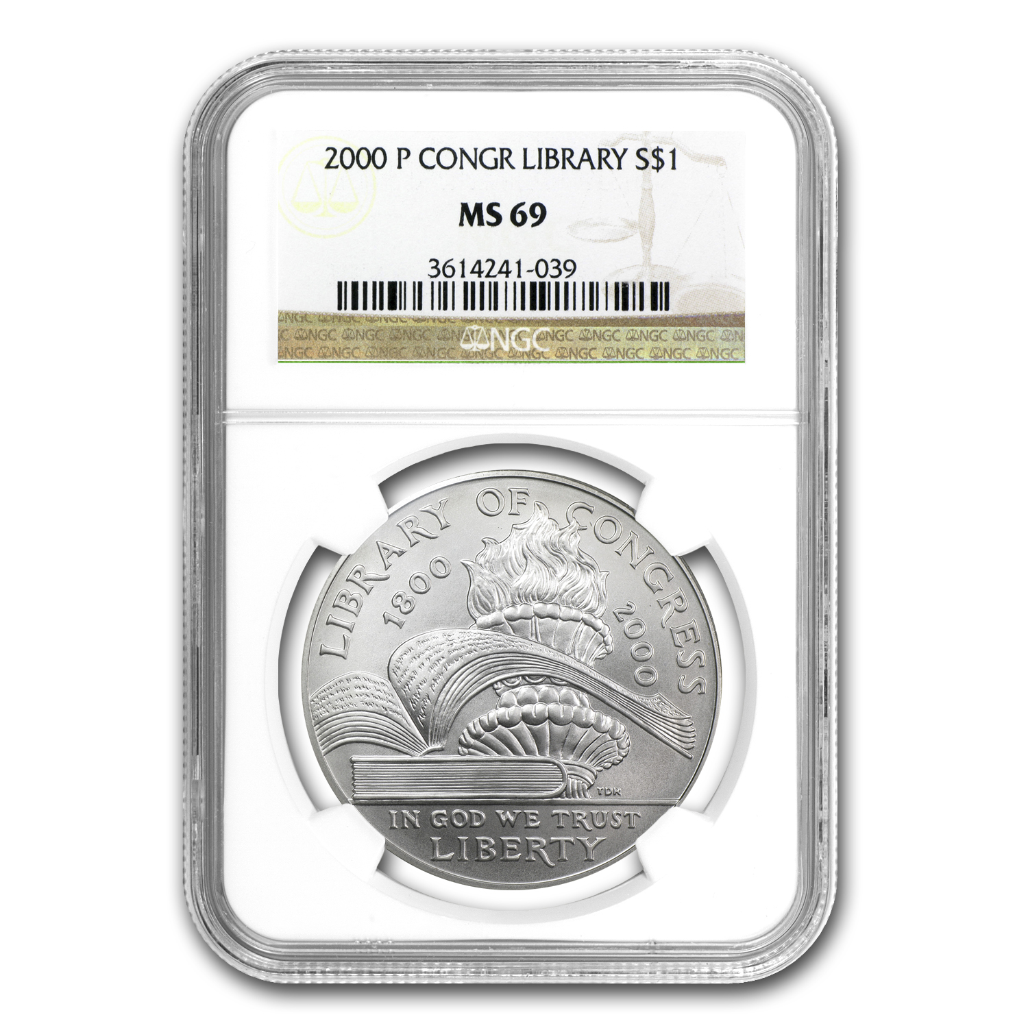 2000-P Library of Congress $1 Silver Commemorative MS-69 NGC