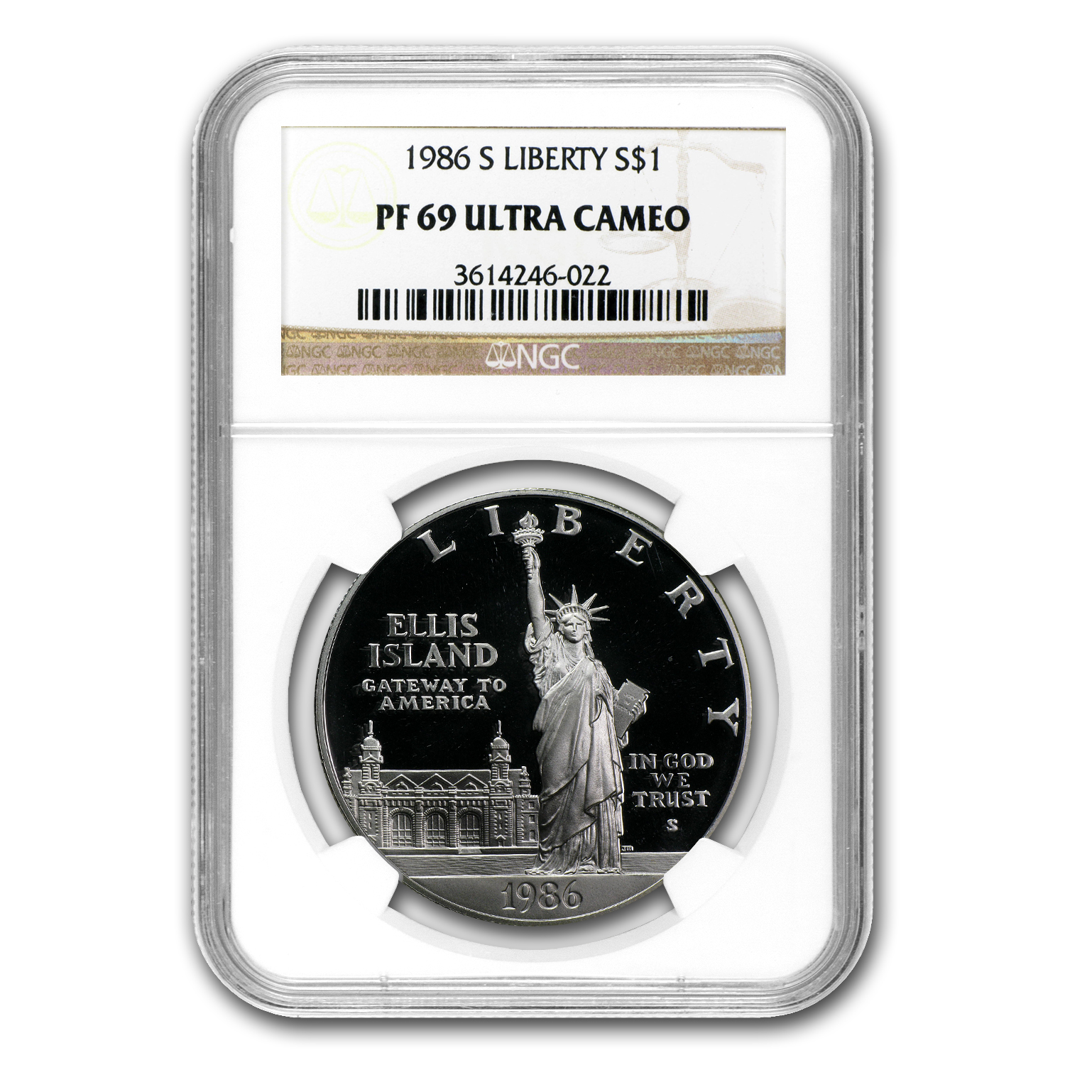 1986-S Statue of Liberty $1 Silver Commem PF-69 NGC