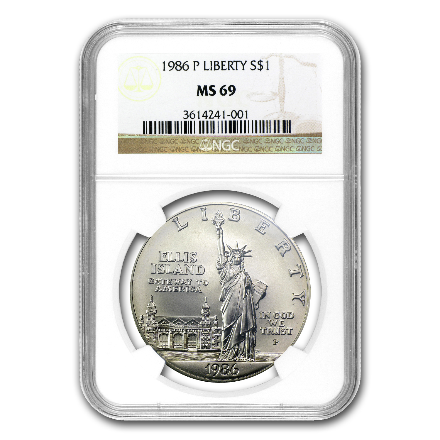 1986-P Statue of Liberty $1 Silver Commemorative MS-69 NGC