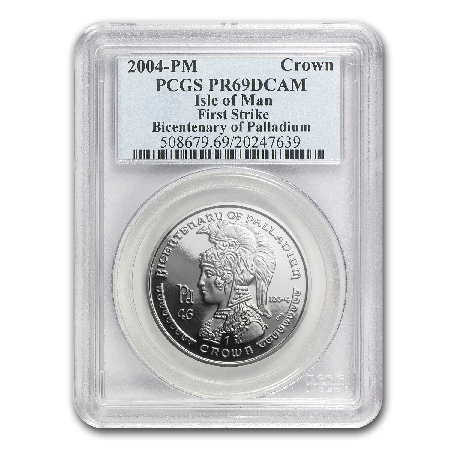 2004 Isle of Man 1 oz Palladium Crown PR-69 PCGS (1st Strike)