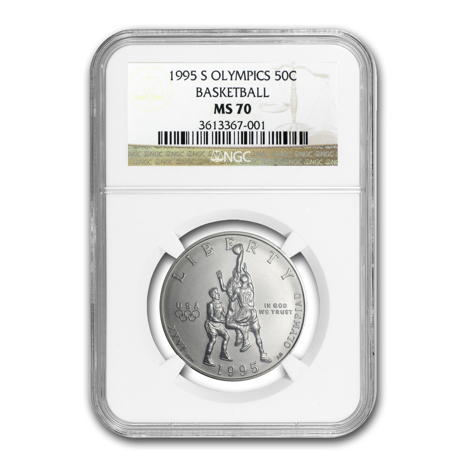 1995-S Olympic Basketball 1/2 Dollar Clad Commem MS-70 NGC