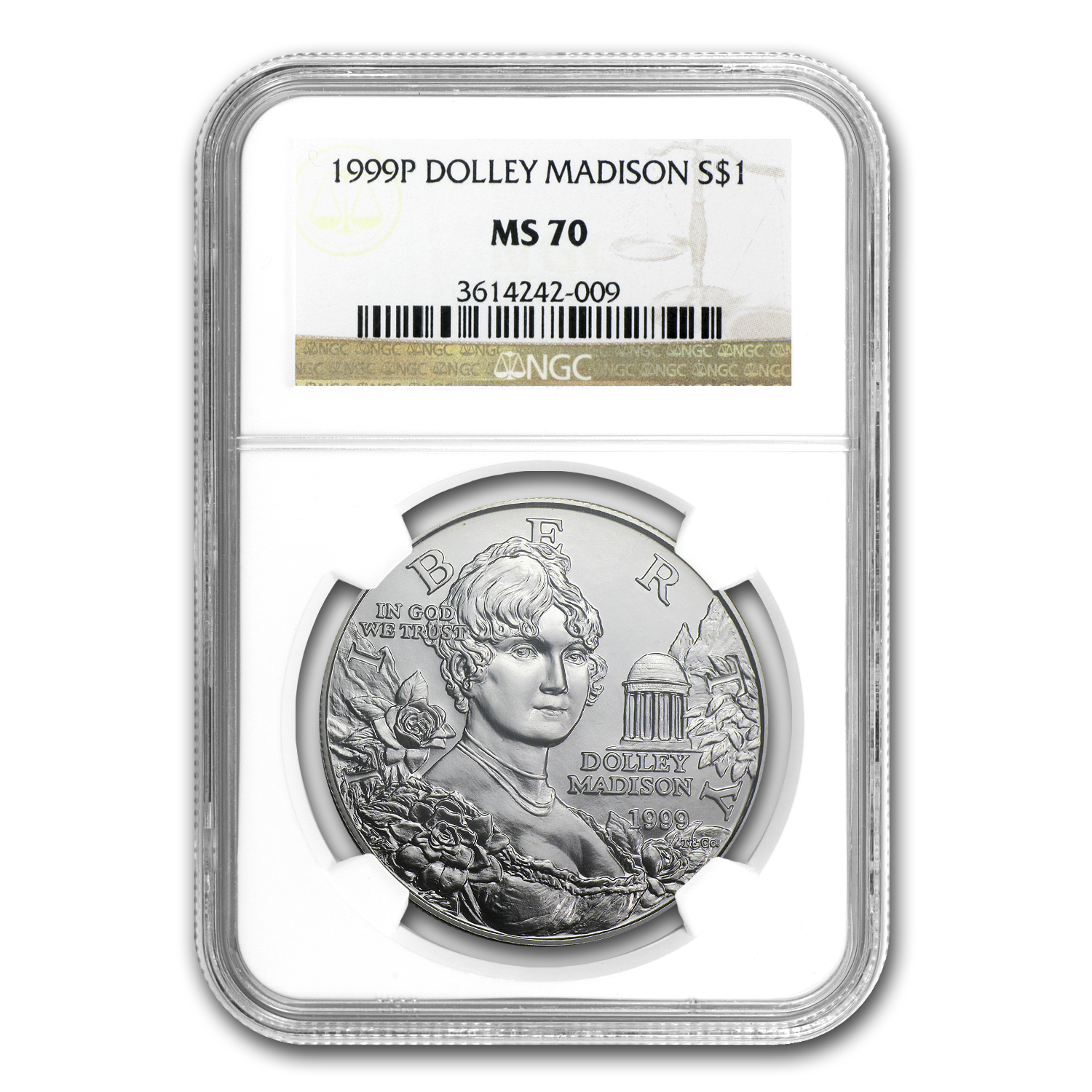 1999-P Dolley Madison $1 Silver Commem MS-70 NGC