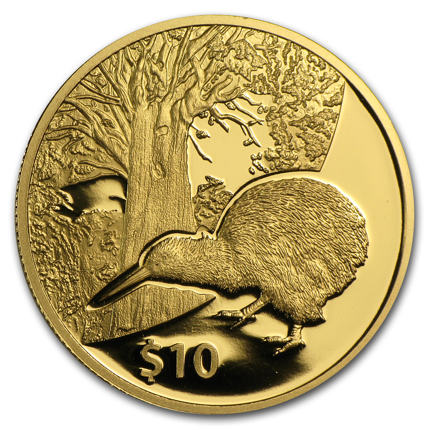 2013 Kiwi Treasures $10 Tane Mahuta 1/4 oz Gold (W/Box & Coa)
