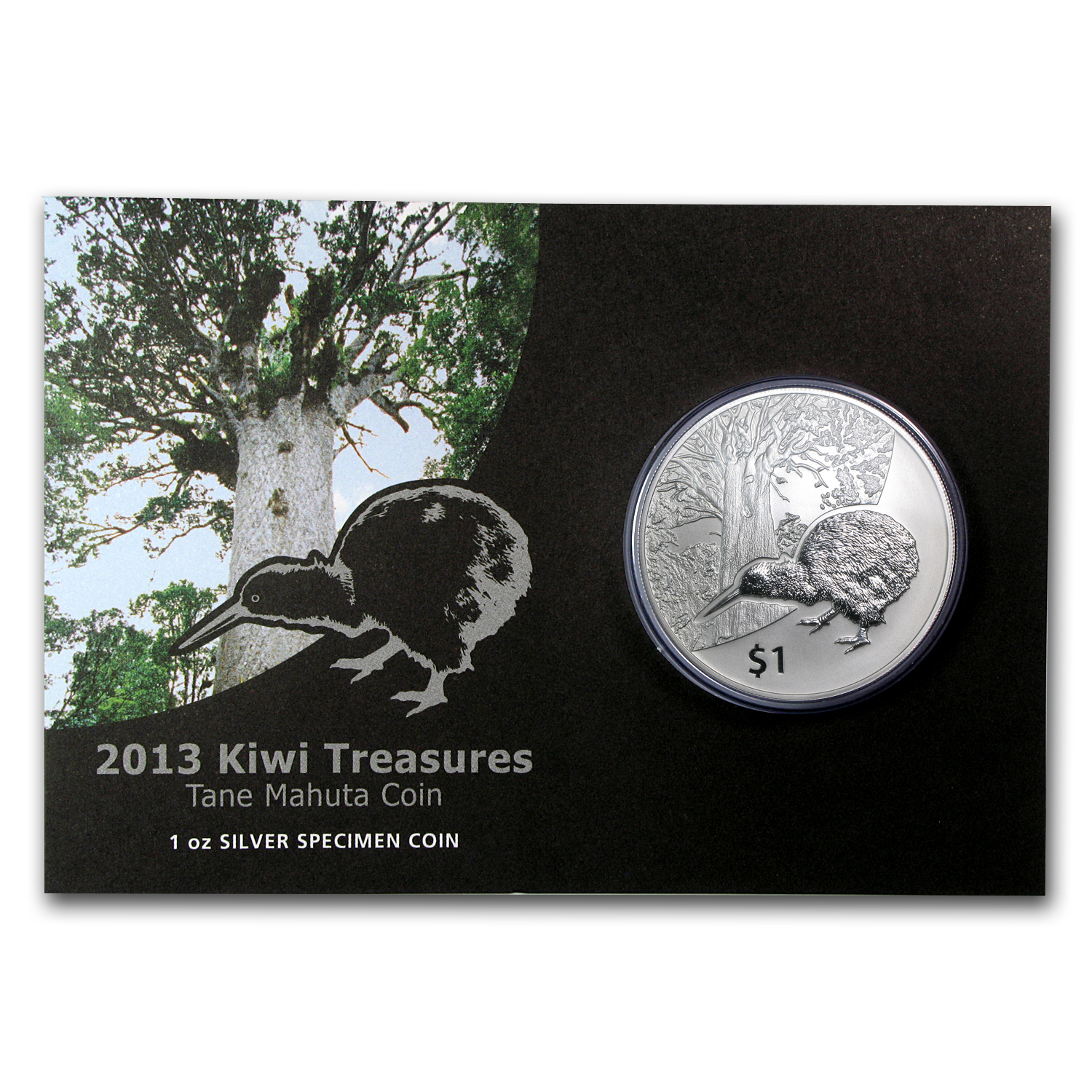2013 New Zealand 1 oz Silver Treasures $1 Kiwi Specimen