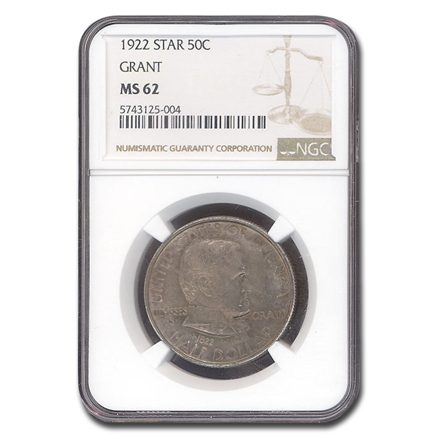1922 Grant Memorial Half Dollar w/Star MS-62 NGC