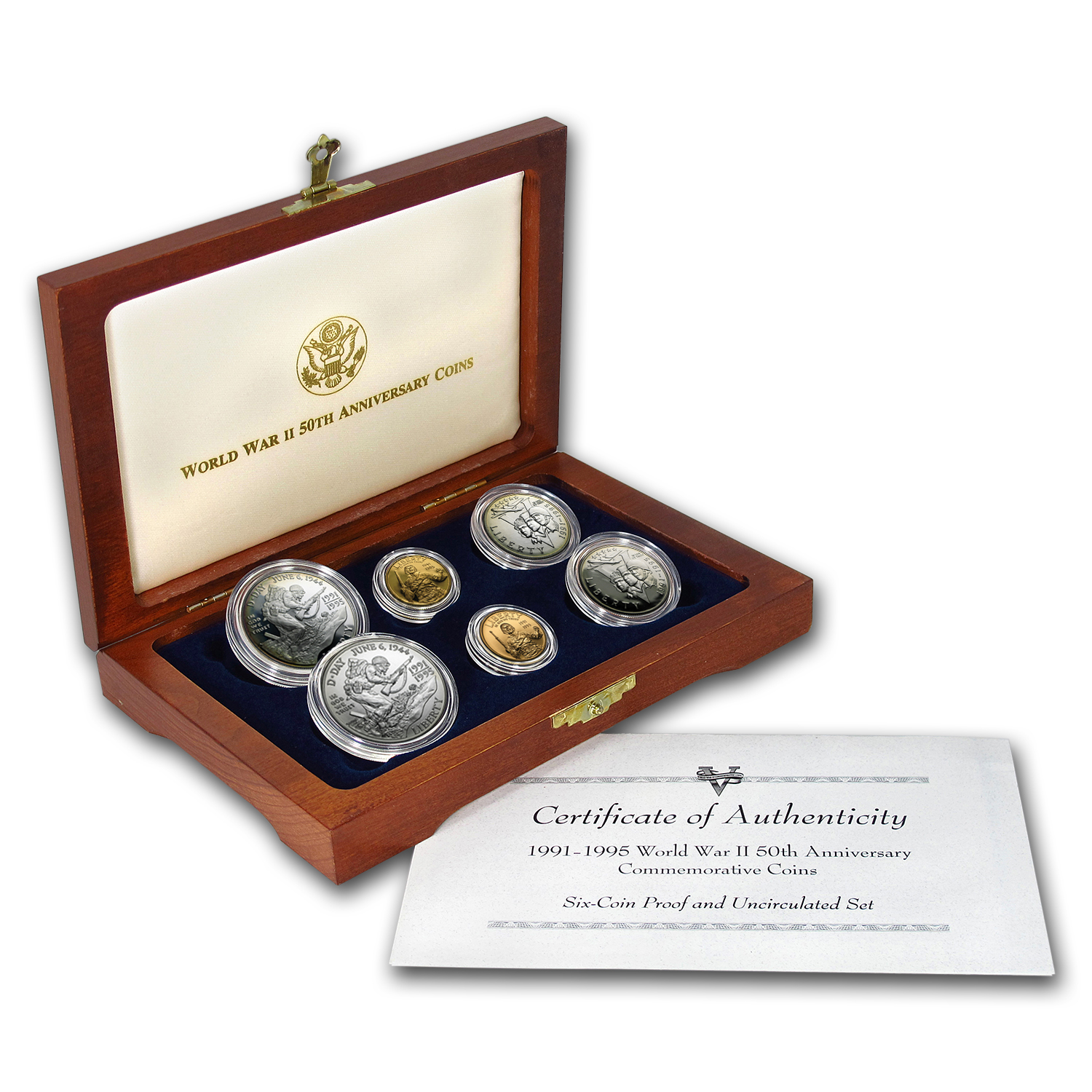 1993 6-Coin Commem World War II Set BU & Proof (w/Box & COA)