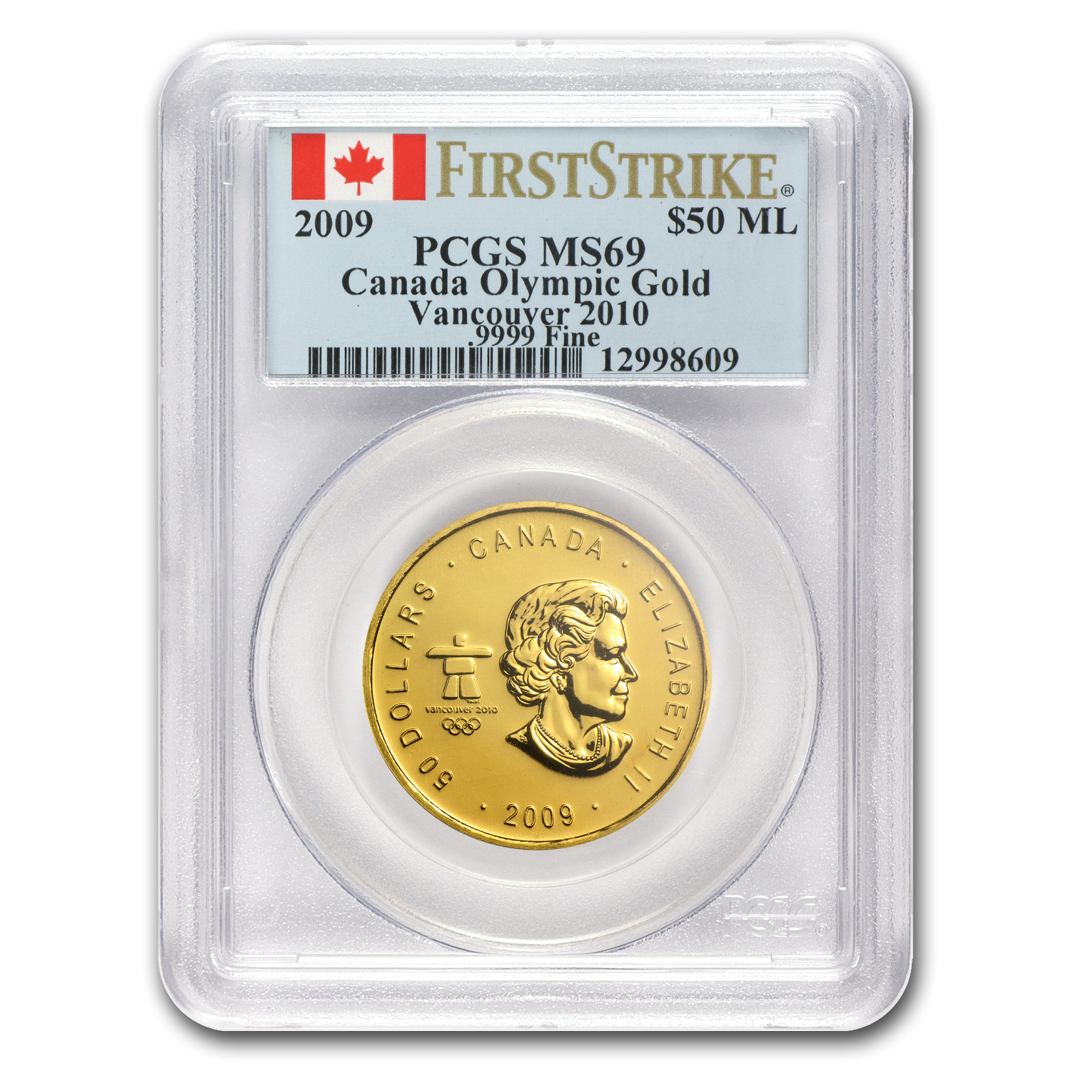 2009 1 oz Gold Canadian Maple Leaf (Vancouver) MS-69 PCGS (FS)