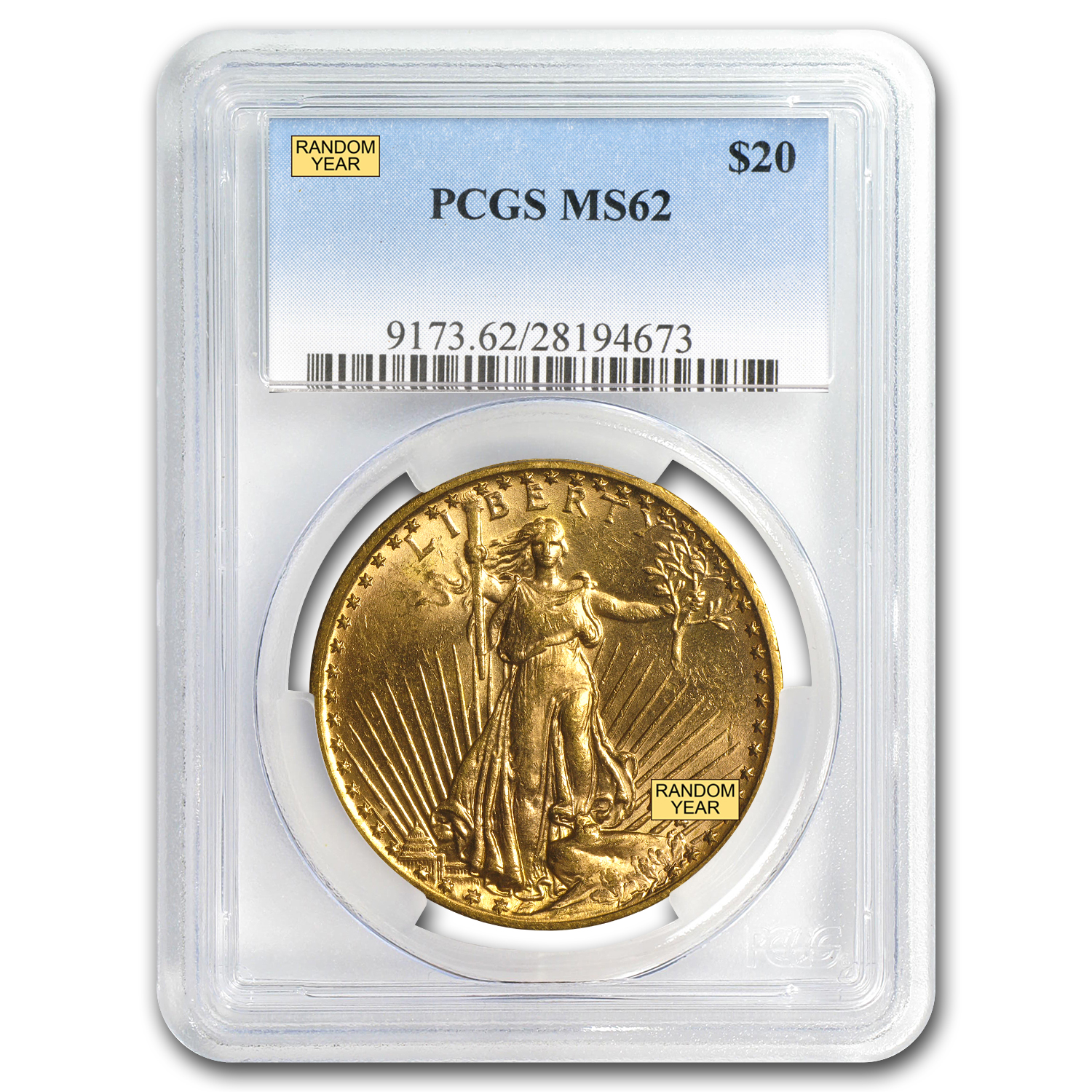 $20 Saint-Gaudens Gold Double Eagle MS-62 PCGS (Random)