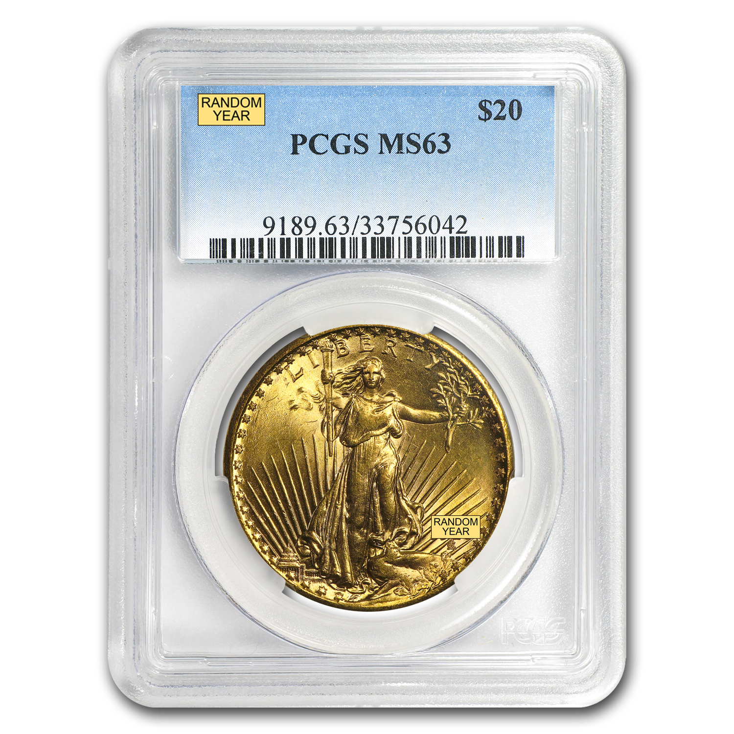 $20 Saint-Gaudens Gold Double Eagle MS-63 PCGS (Random)