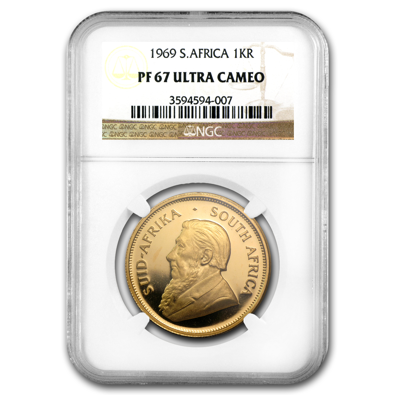1969 1 oz Gold South African Krugerrand PF-67 UCAM NGC