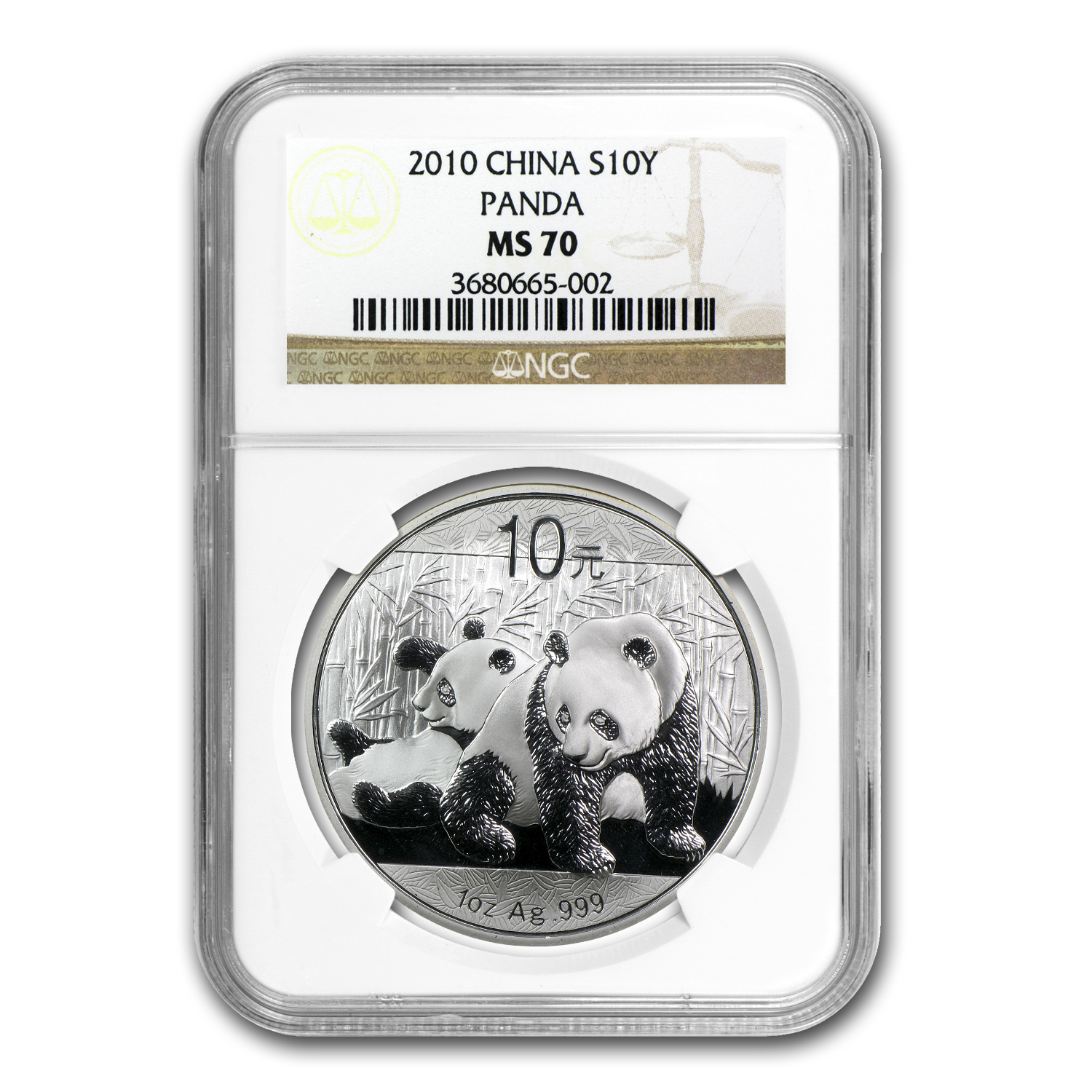 2010 1 oz Silver Chinese Panda MS-70 NGC