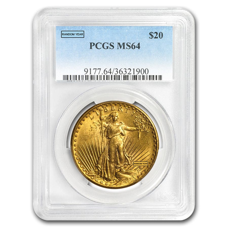 $20 Saint-Gaudens Gold Double Eagle MS-64 PCGS (Random)