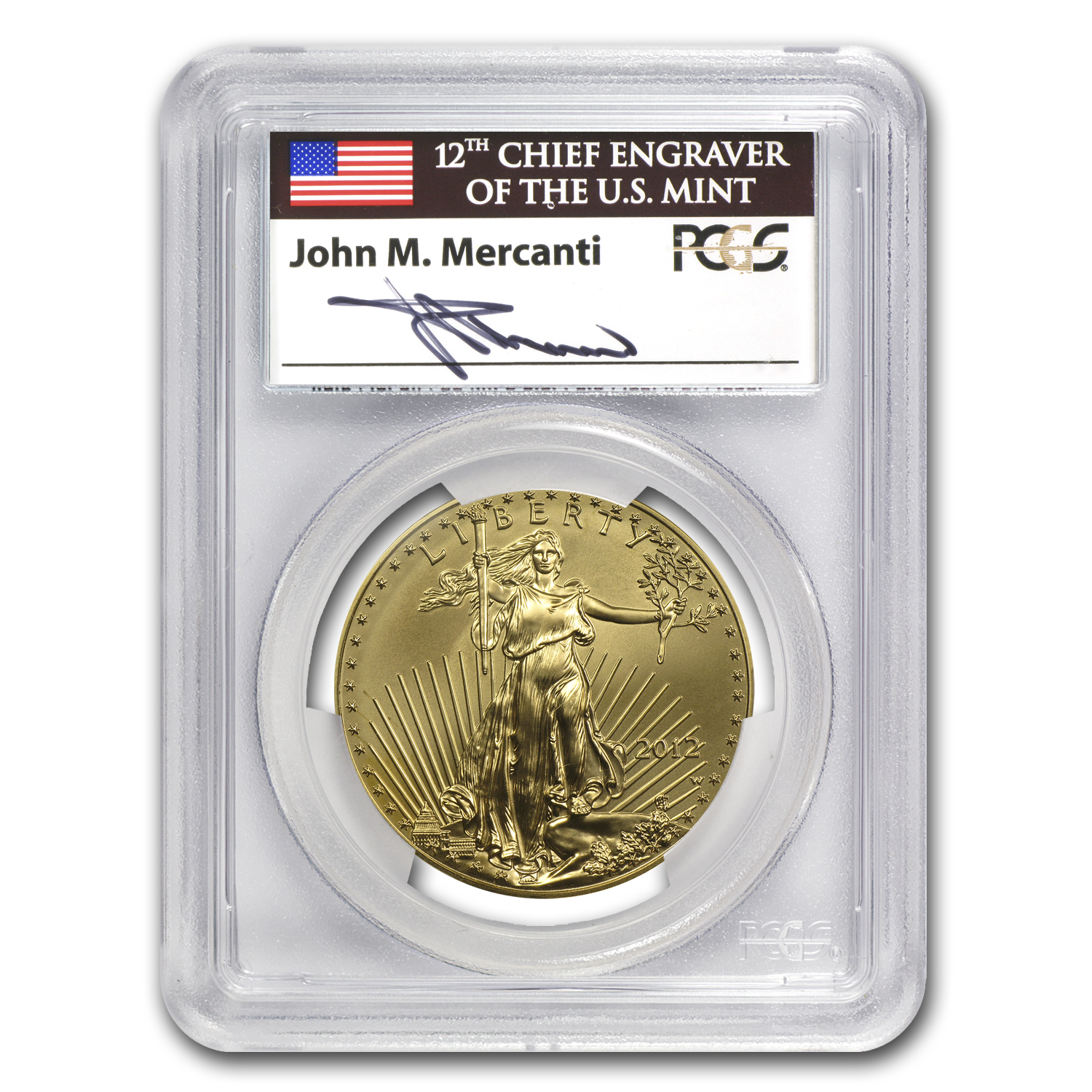 2012-W 1 oz Burnished Gold Eagle MS-69 PCGS (FS, John Mercanti)
