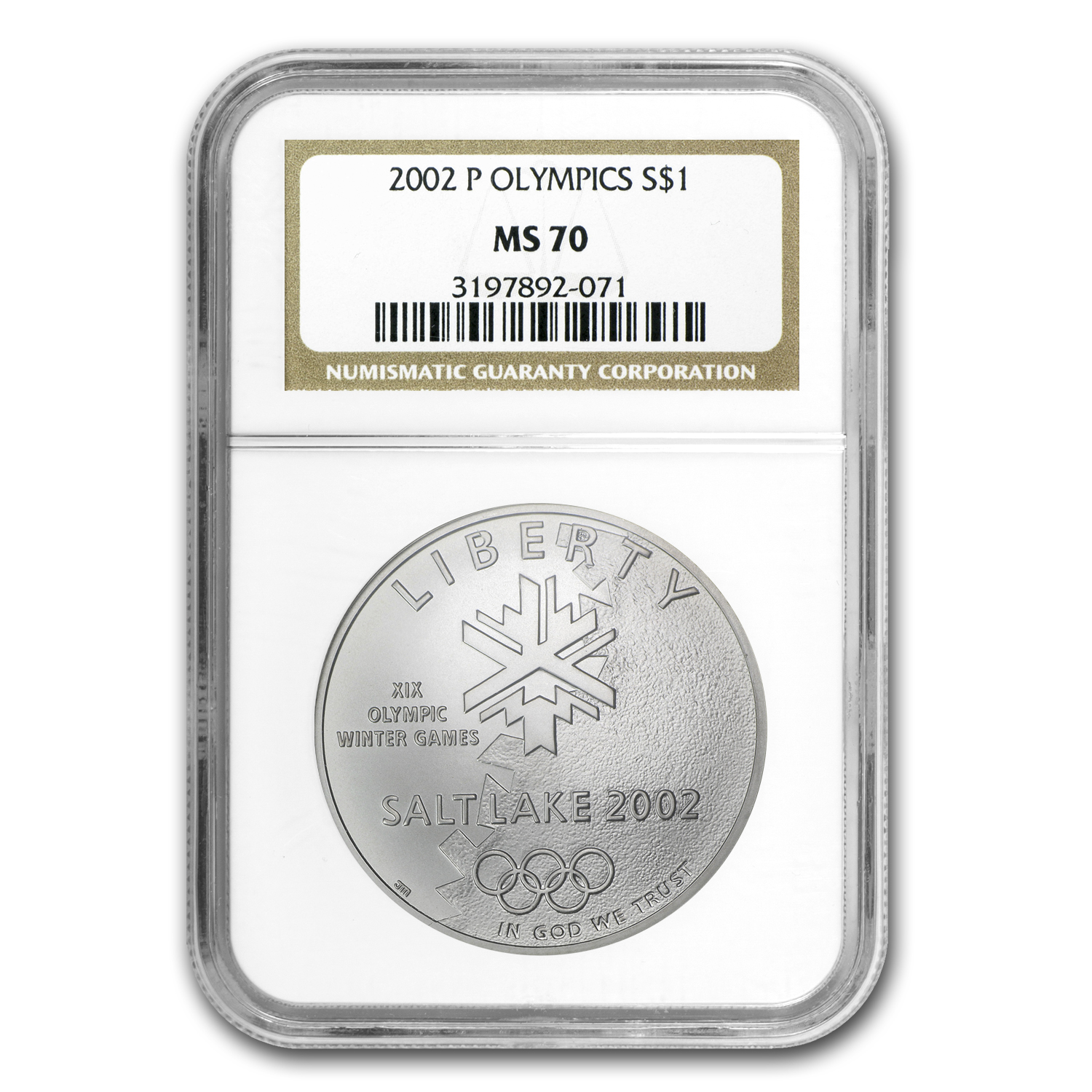 2002-P Olympic Winter Games $1 Silver Commem MS-70 NGC