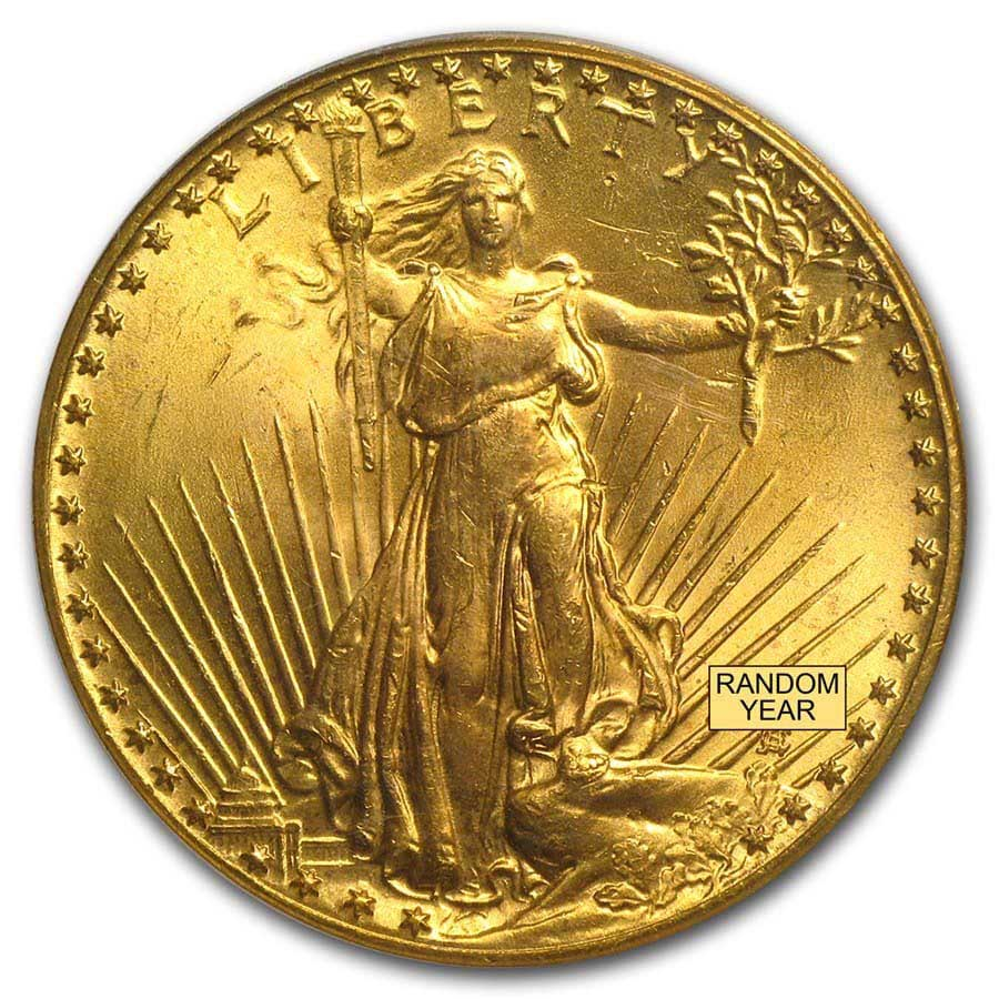 $20 Saint-Gaudens Gold Double Eagle MS-65 PCGS (Random)