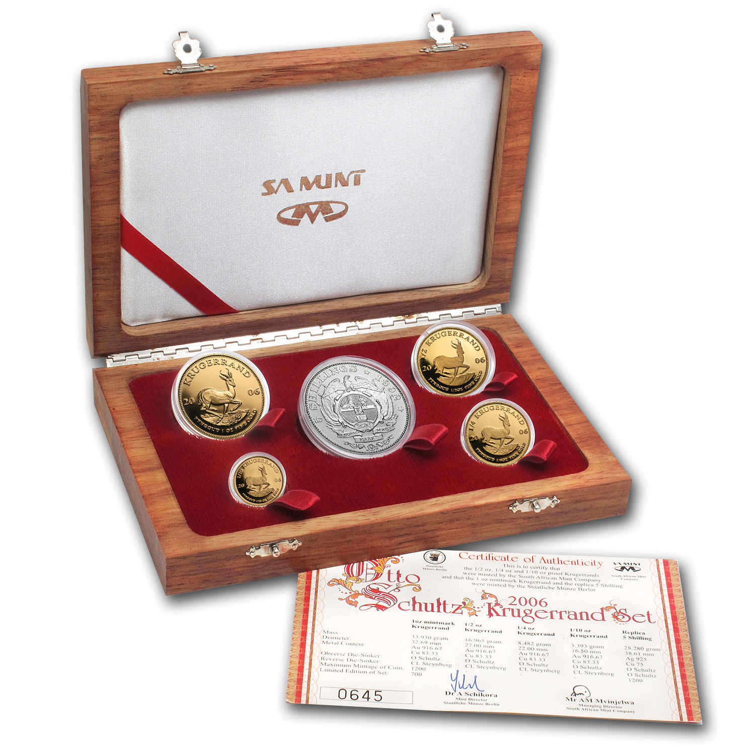 2006 South Africa 5-Coin Gold Krugerrand Otto Schultz Proof Set