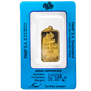 1/2 oz Gold Pendant - Pamp Suisse Ingot (Fortuna, Rectangle)