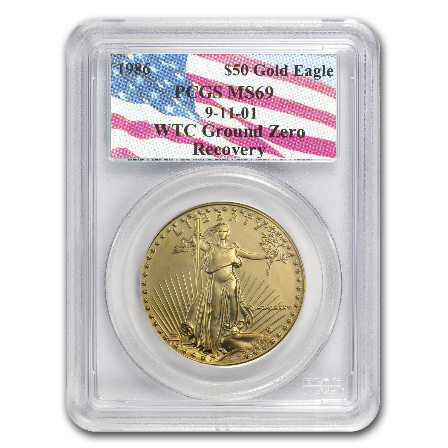1986 1 oz Gold American Eagle MS-69 PCGS (World Trade Center)