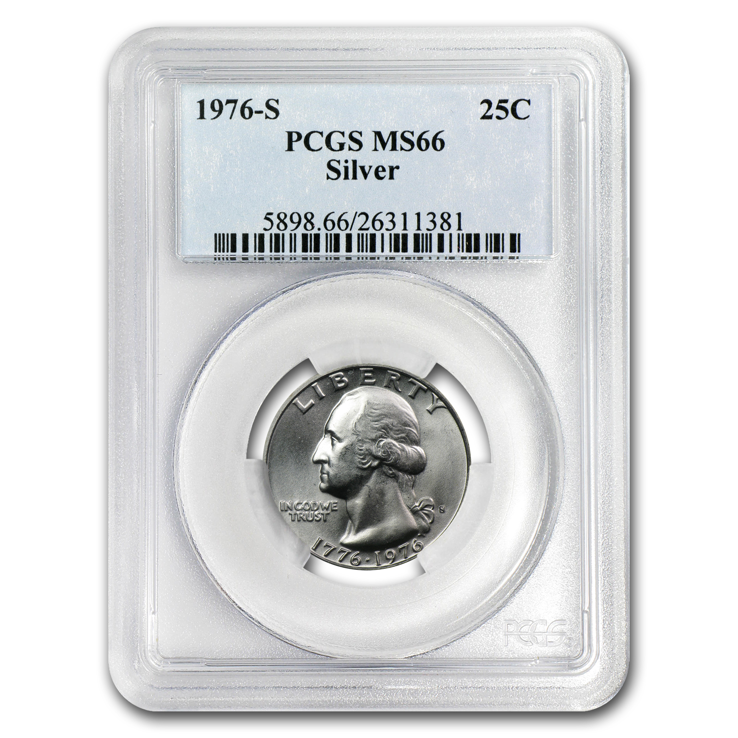 1976-S 40% Silver Washington Quarter MS-66 PCGS
