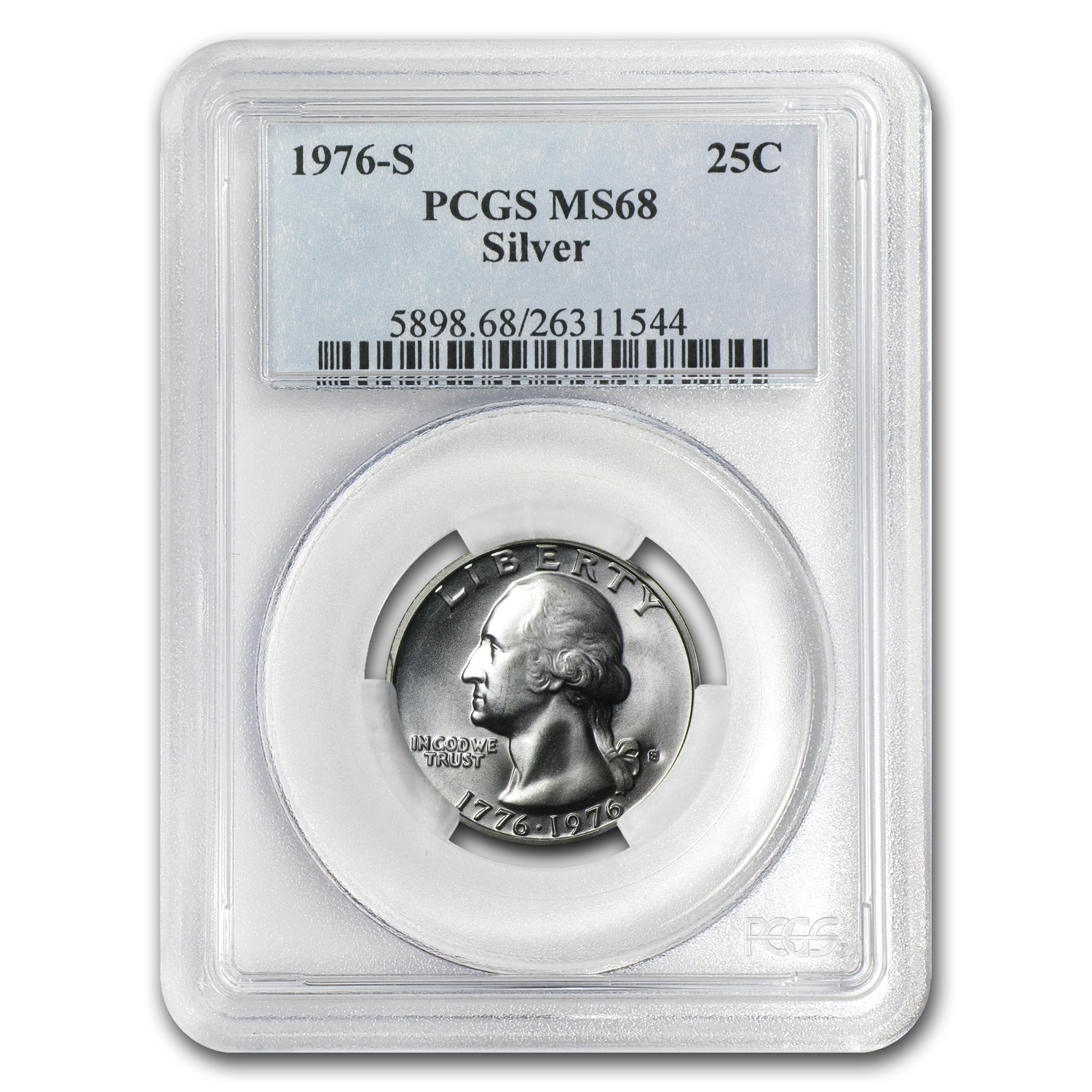 1976-S 40% Silver Washington Quarter MS-68 PCGS