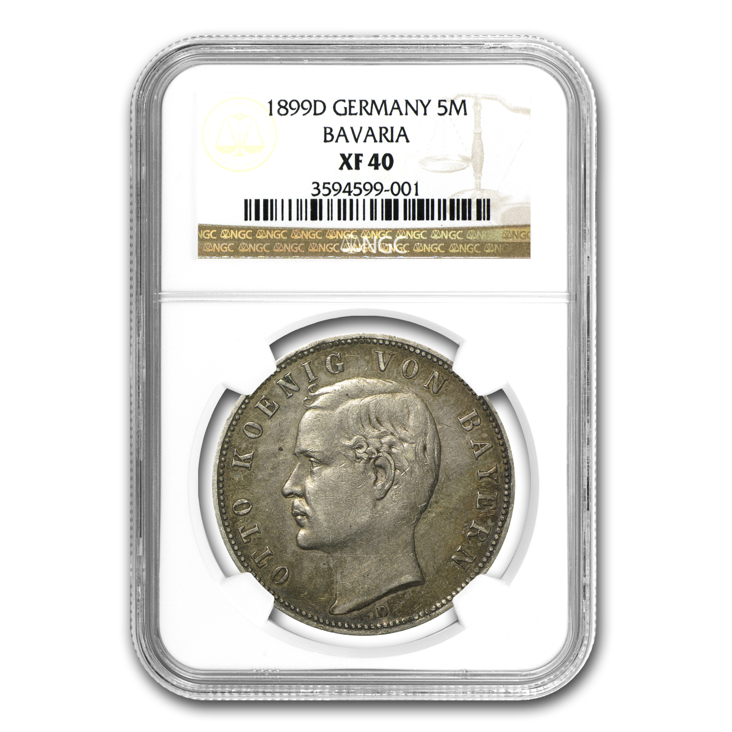 1899-D Bavaria 5 Mark Otto XF-40 NGC