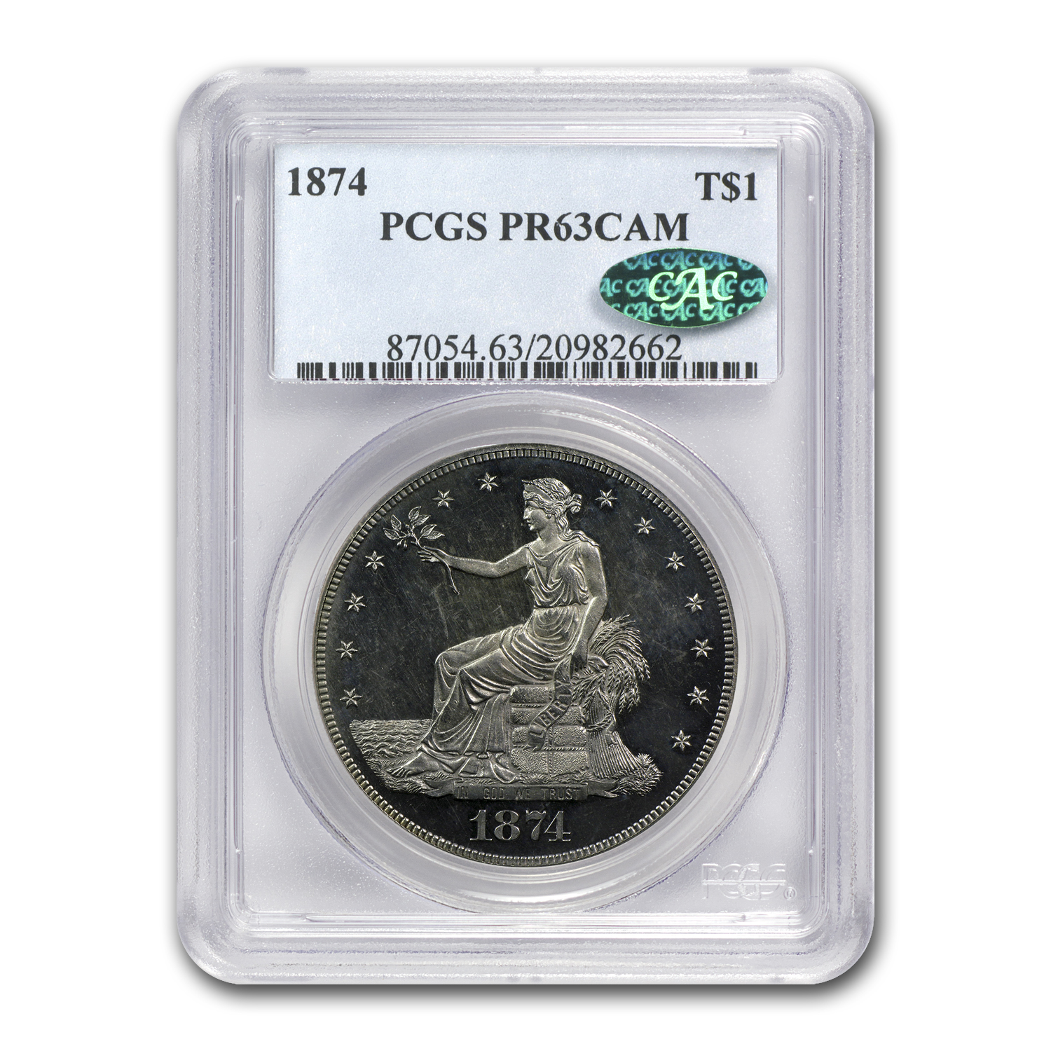 1874 Trade Dollar PR-63 Cameo PCGS - CAC