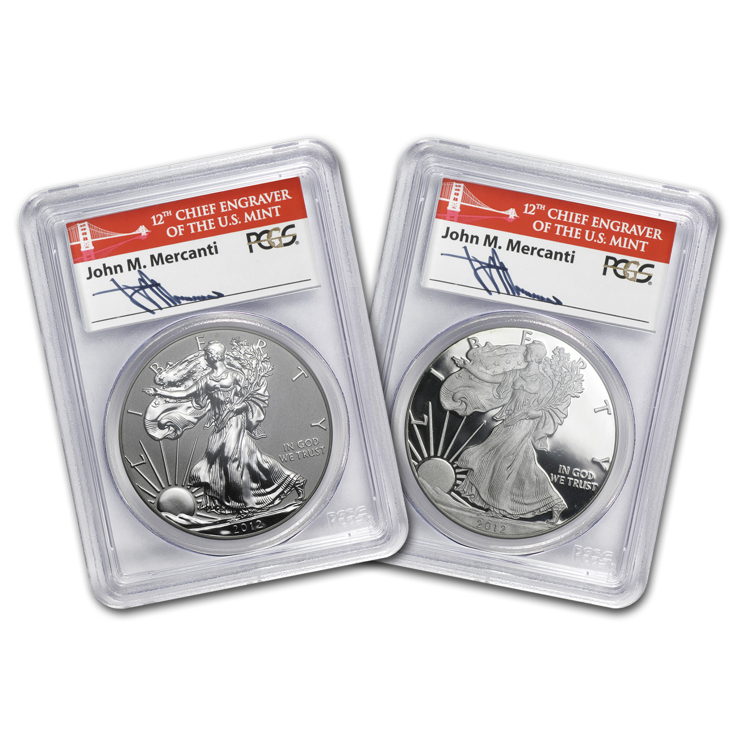 2012-S 2-Coin Silver Eagle Set PR-70 PCGS (John Mercanti)
