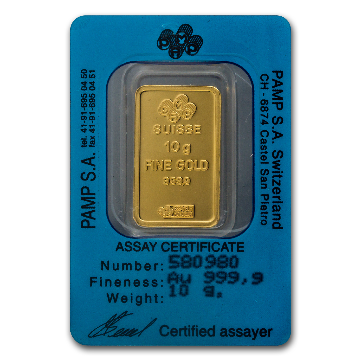 10 gram Gold Bar - Pamp Suisse (Aries the Ram, in Assay)