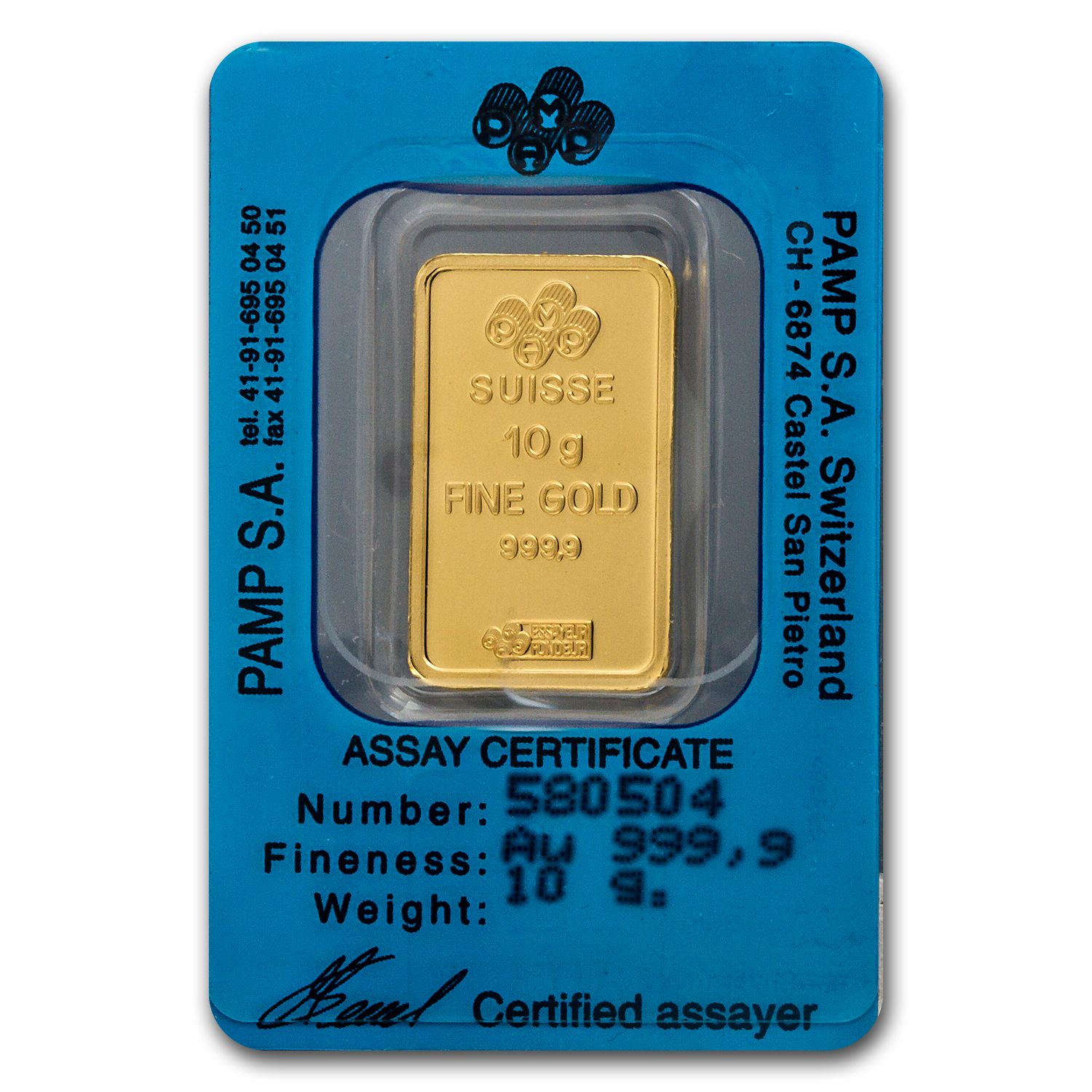 10 gram Gold Bars - Pamp Suisse (Cancer the Crab, in Assay)