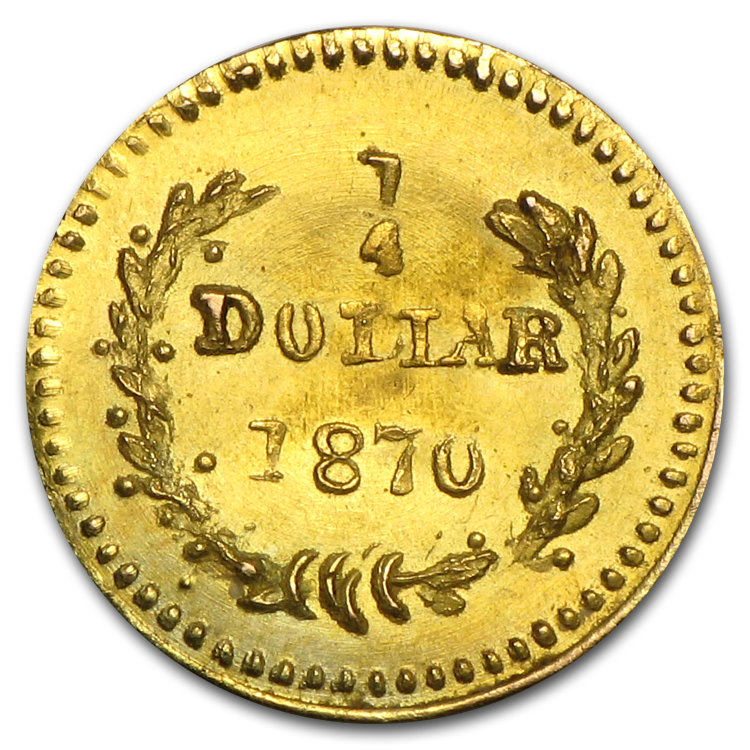1870 BG-808 Liberty Round 25 Cent Gold MS-63