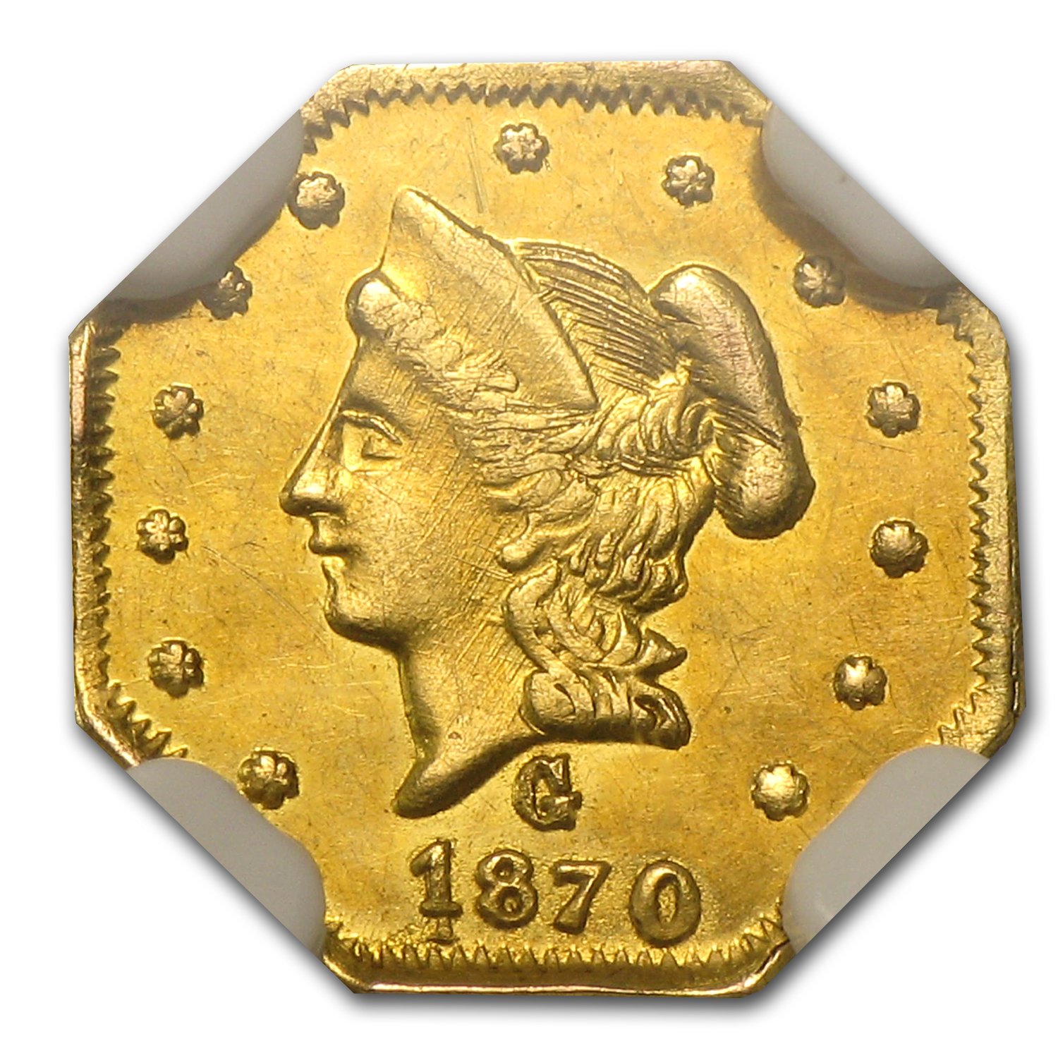 1870 BG-922 Liberty Octagonal 50 Cent Gold UNC NGC (Scratches)