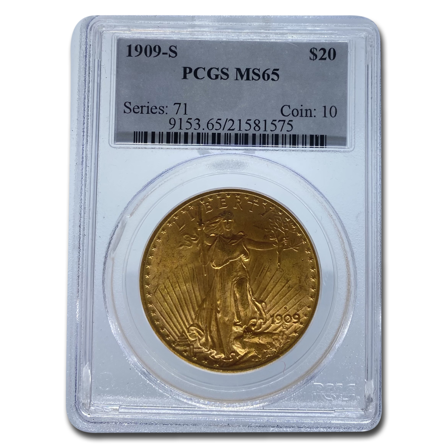 1909-S $20 St. Gaudens Gold Double Eagle MS-65 PCGS