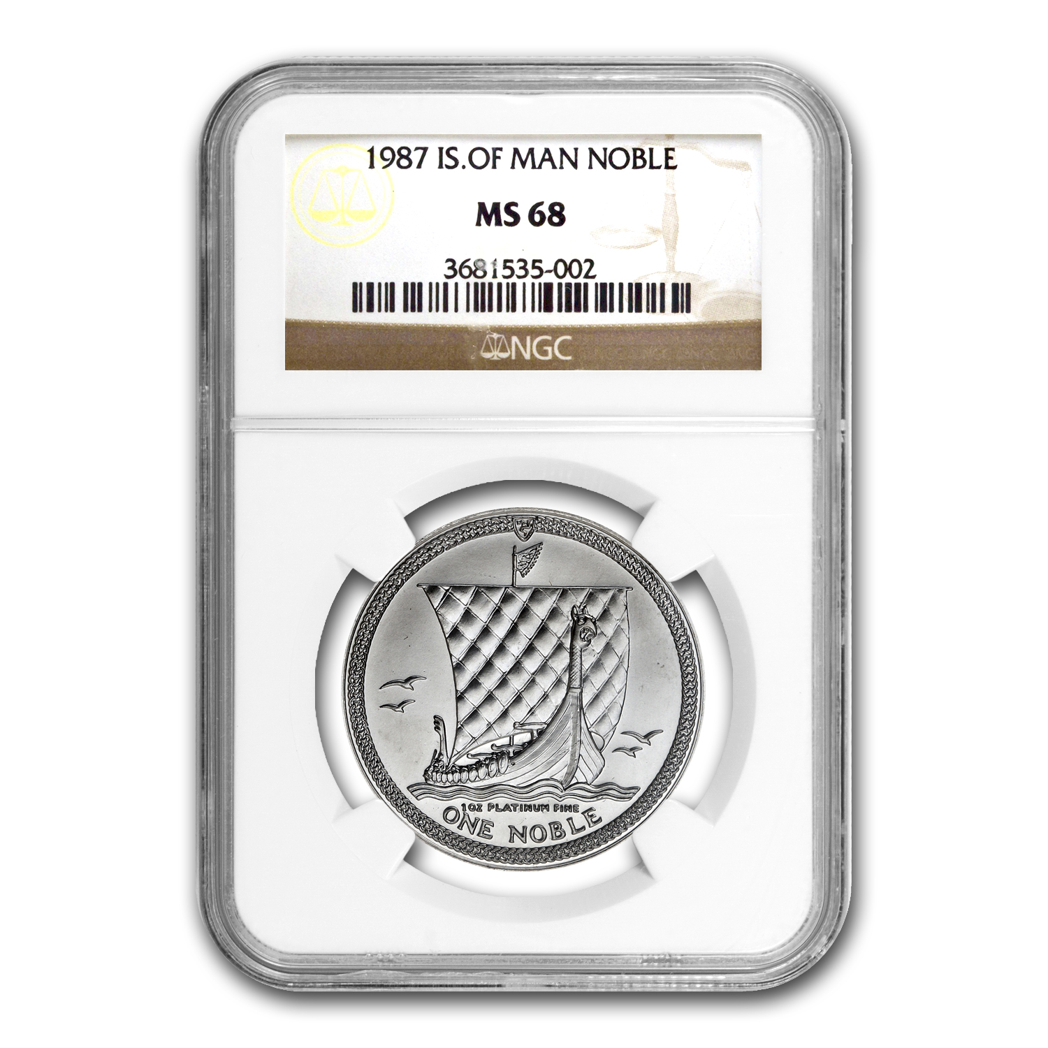 1987 Isle of Man 1 oz Platinum Noble MS-68 NGC