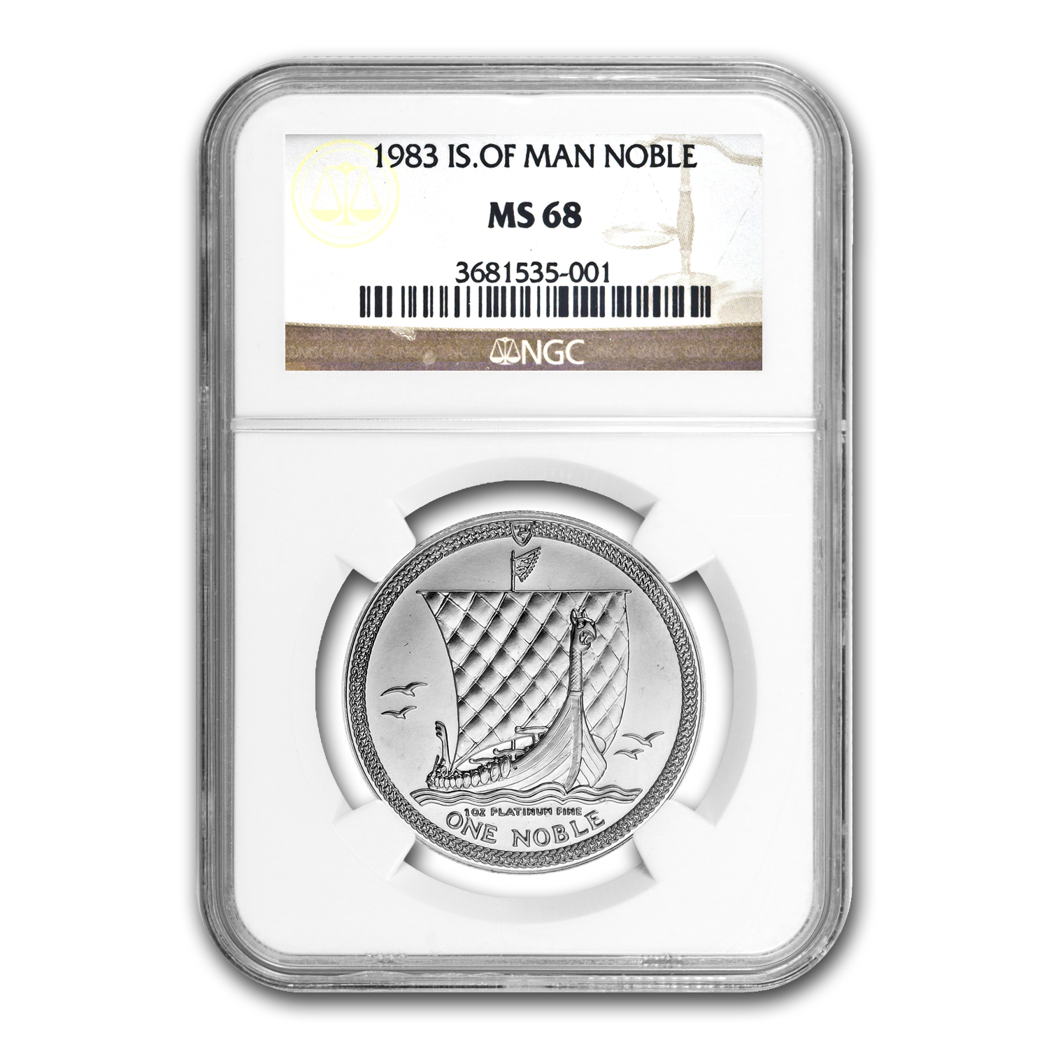 1983 Isle of Man 1 oz Platinum Noble MS-68 NGC
