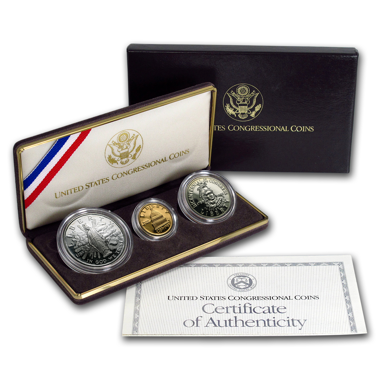 1989 3-Coin Commem Congressional Proof Set (w/Box & COA)