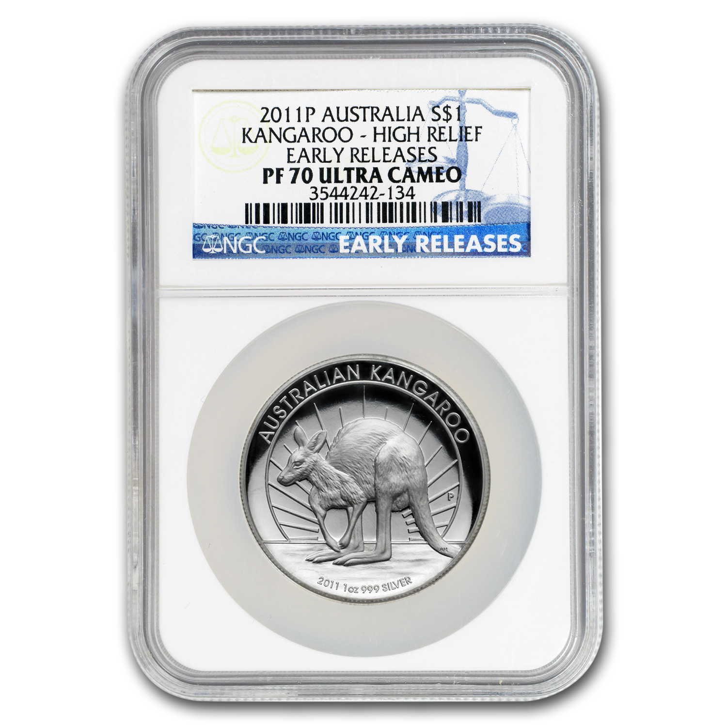 2011-P 1 oz Silver High Relief Proof Kangaroo PF-70 UCAM NGC