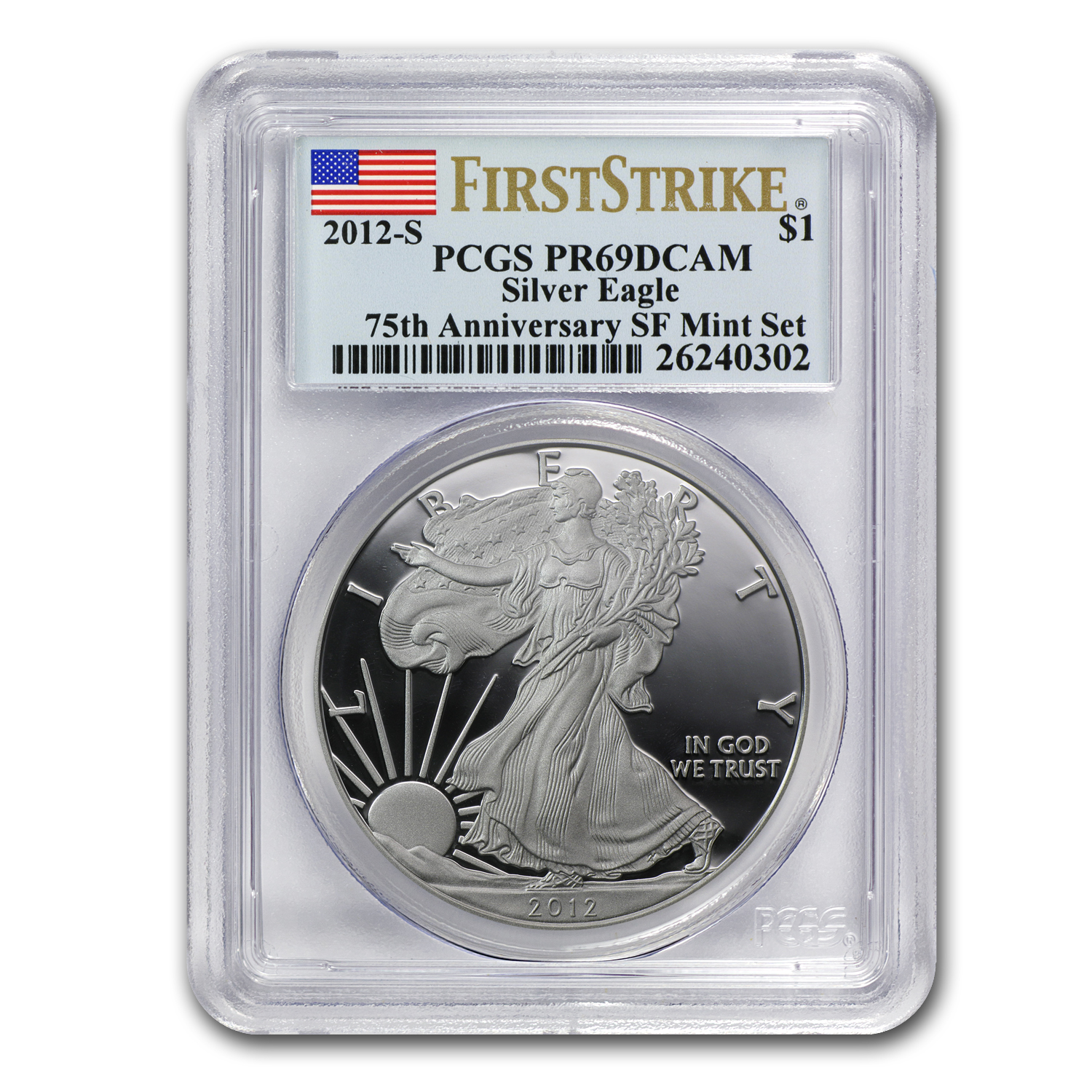 2012-S Proof Silver Eagle PR-69 PCGS 75th Anniv (FS)