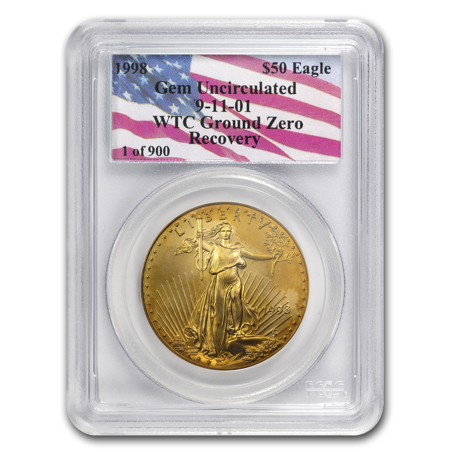 1998 1 oz Gold American Eagle Gem Unc PCGS (WTC, 1 of 900)