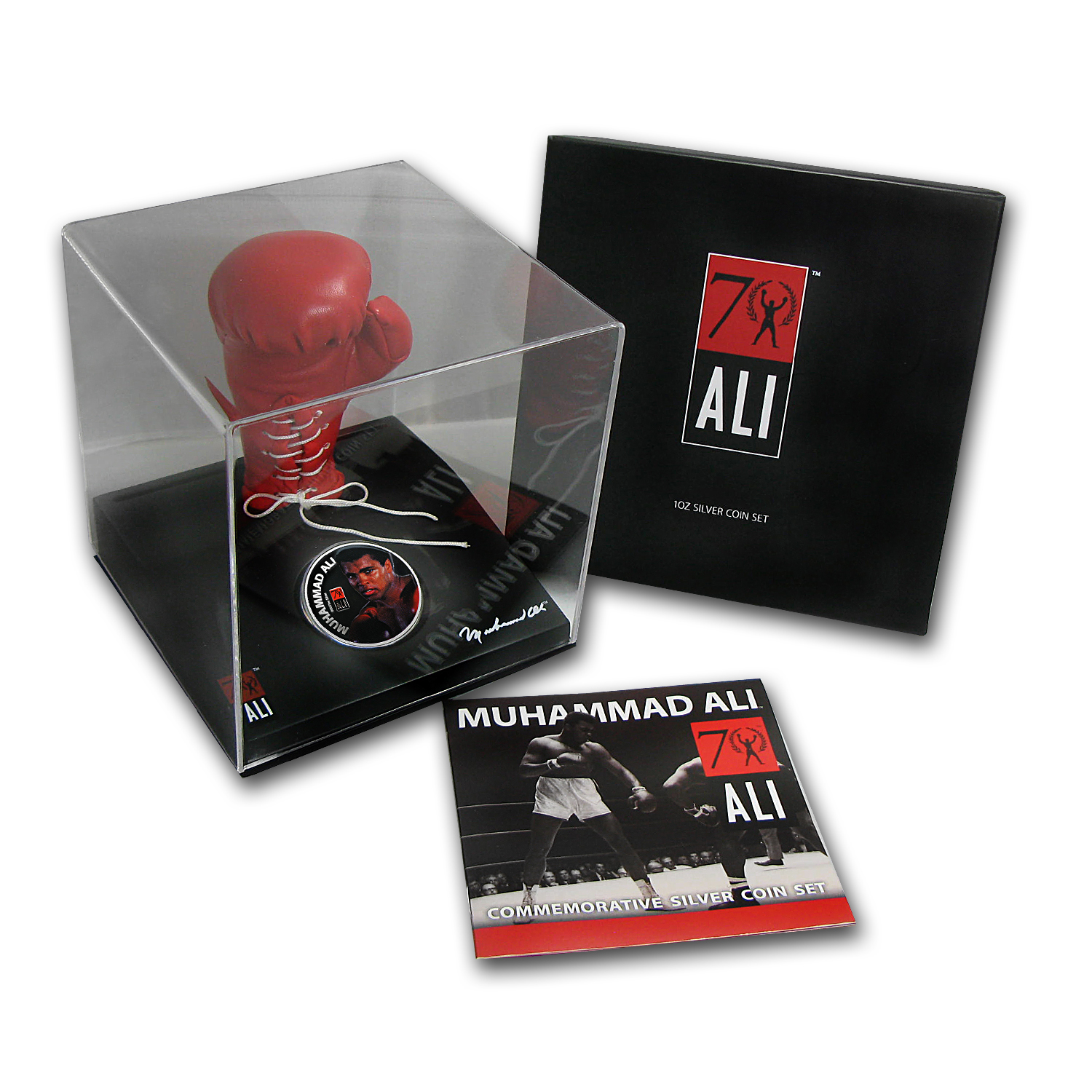 2012 Fiji 1 oz Silver $2 Muhammad Ali Coin in Glove (Dmgd Box)