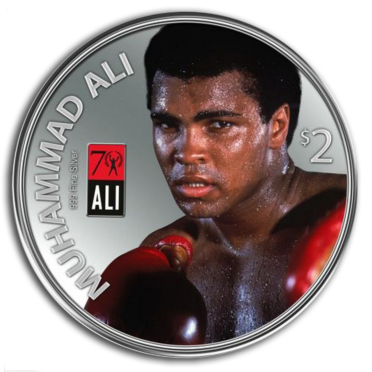 2012 1 oz Silver Fiji $2 - Muhammad Ali Coin in Glove Display