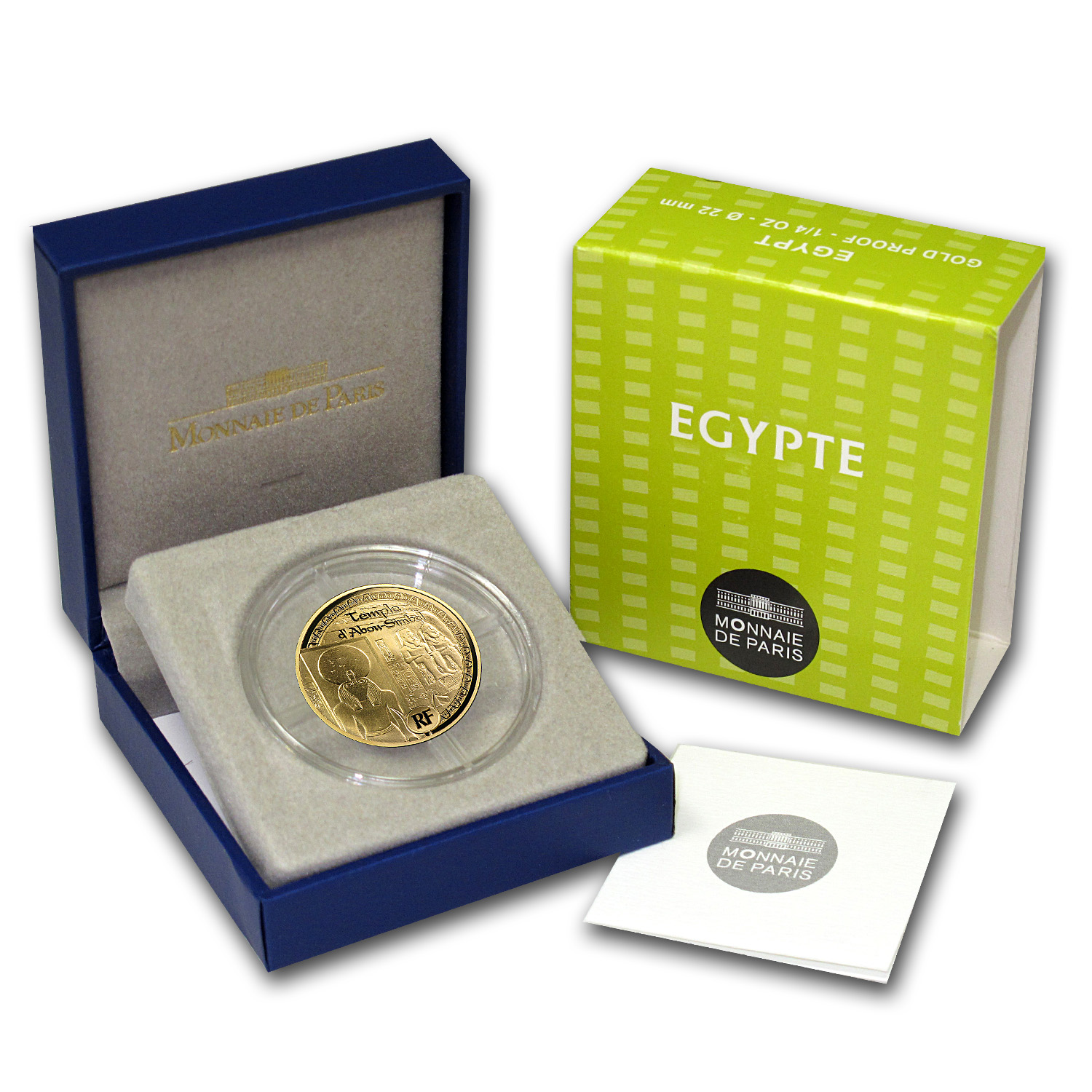 2012 €50 1/4 oz Gold Proof Egyptian Heritage - Abu Simbel