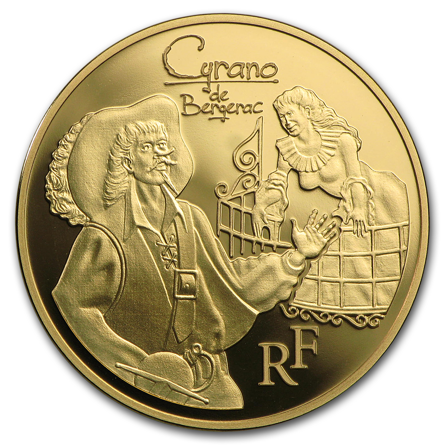 2012 1/4 oz Gold €50 Proof Heroes of French Literature - Cyrano