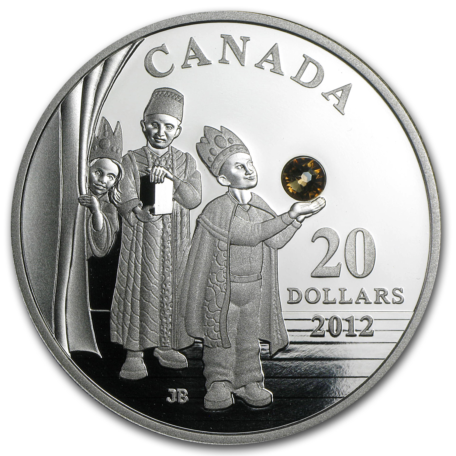 2012 Silver Canadian $20 Holiday Coin - Three Wise Men W/ Crystal