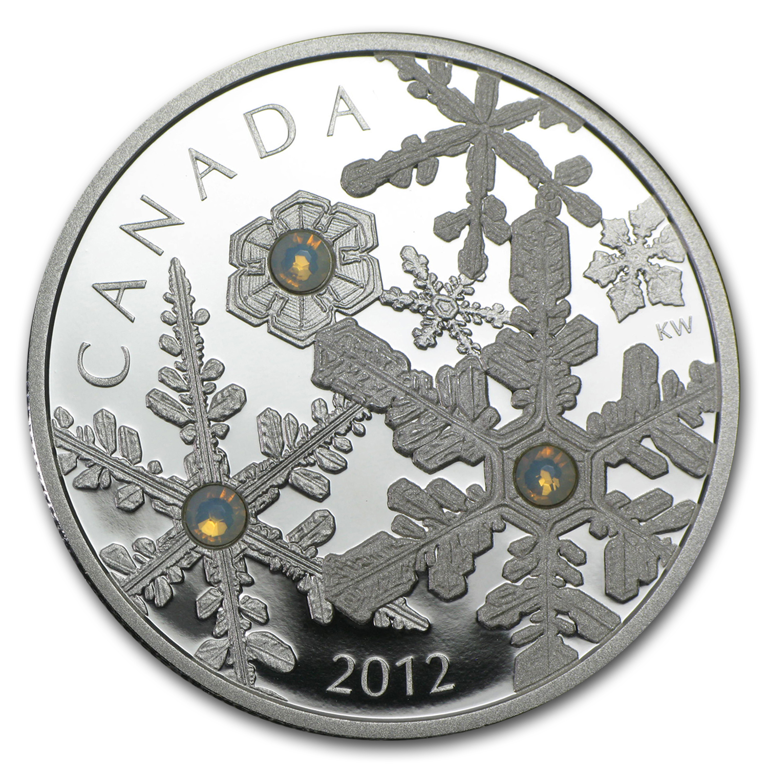 2012 1 oz Silver Canadian $20 Swarovski Crystal Holiday Snowstorm