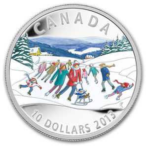 2013 1/2 oz Silver Canadian $10 Winter Scene (Ice Skating)