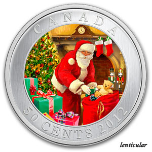 2012 Canadian $0.50 Christmas Lenticular Coin - Santa's Visit