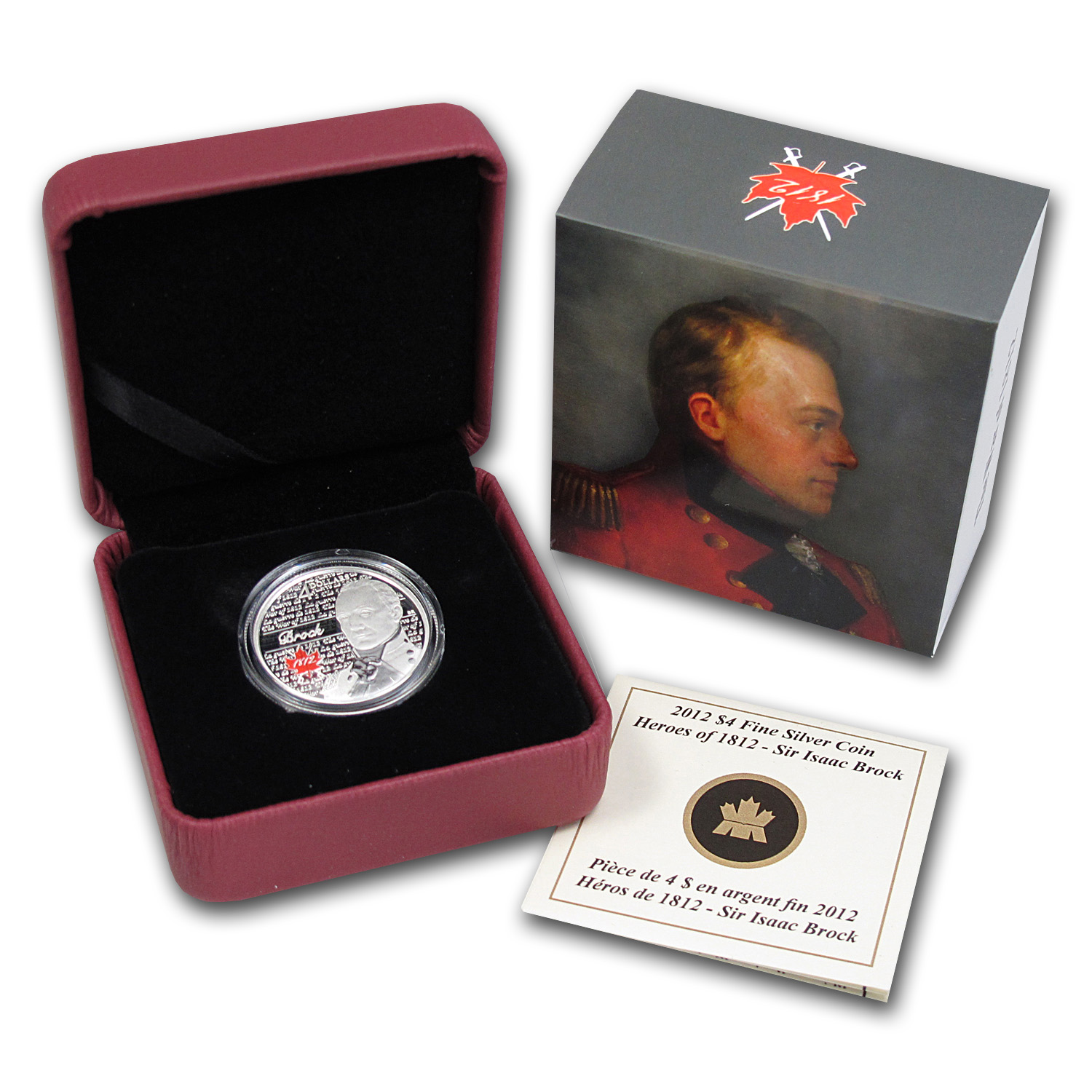 2012 1/4 oz Silver Canadian $4 Heroes of 1812 - Sir Isaac Brock