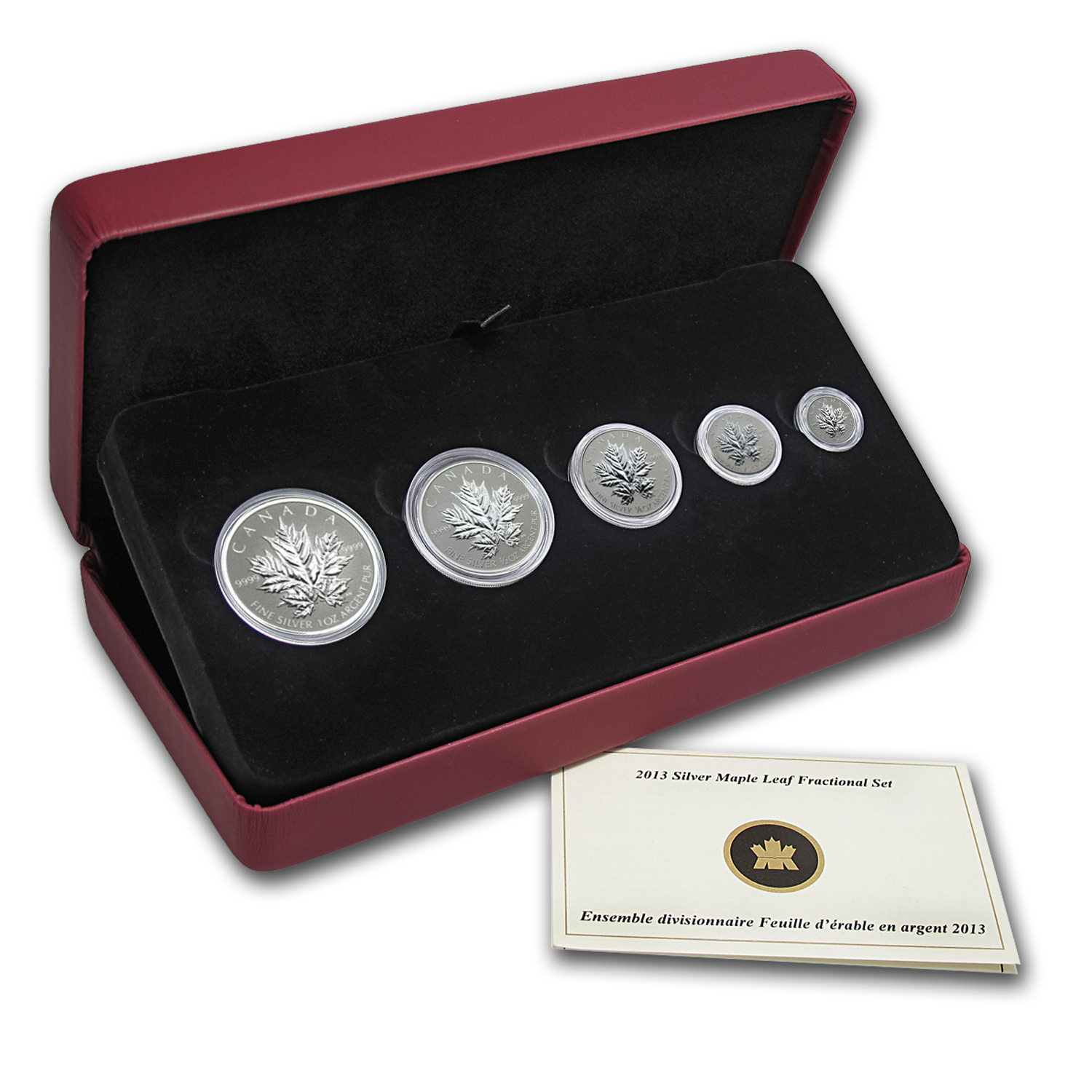 2013 5-Coin Silver Canadian Maple Leaf 25th Anniversary Set