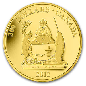 2012 Canada Proof Gold $300 Nunavut Coat of Arms