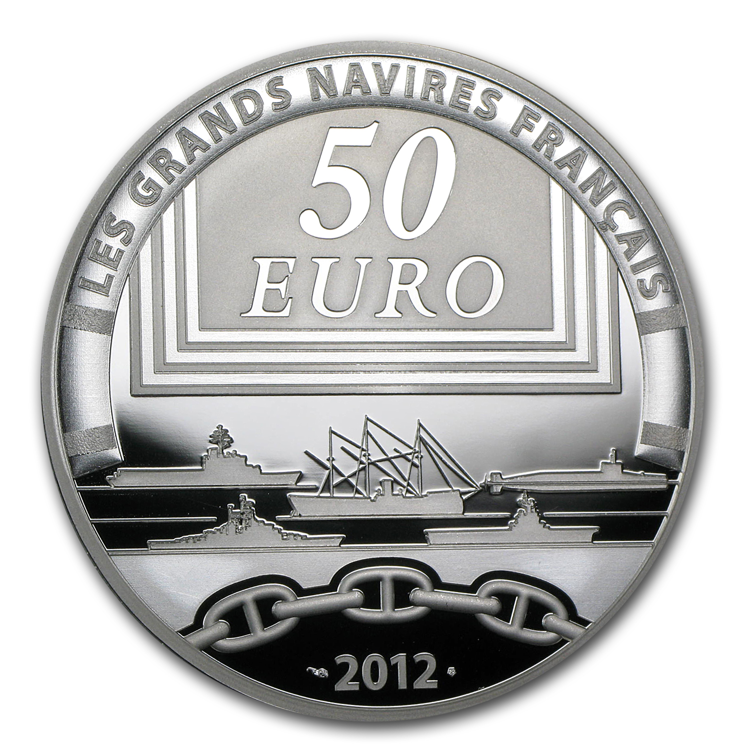 2012 5 oz Silver €50 Great French Ships Proof (The Jeanne D´Arc)